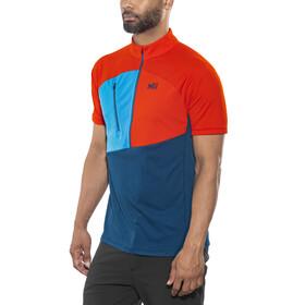 Millet M's Elevation Short Sleeve Zip Shirt poseidon/orange